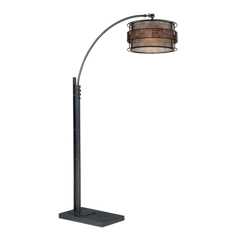Quoizel 76-in Black Indoor Floor Lamp with Mica Shade