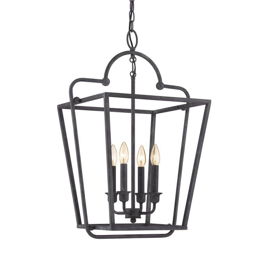 Quoizel Ridge Manor 18-in Mottled Black Mediterranean Single Cage Pendant