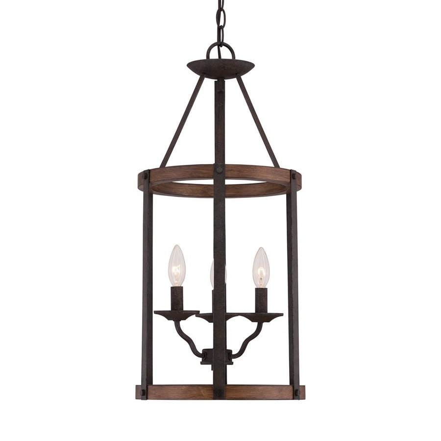 Shop Quoizel Planter 12 5 In Rustic Black Country Cottage Single Cage Pendant