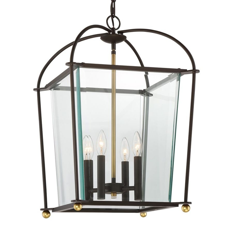 Quoizel Grand Court 16-in Western Bronze Single Clear Glass Cage Pendant