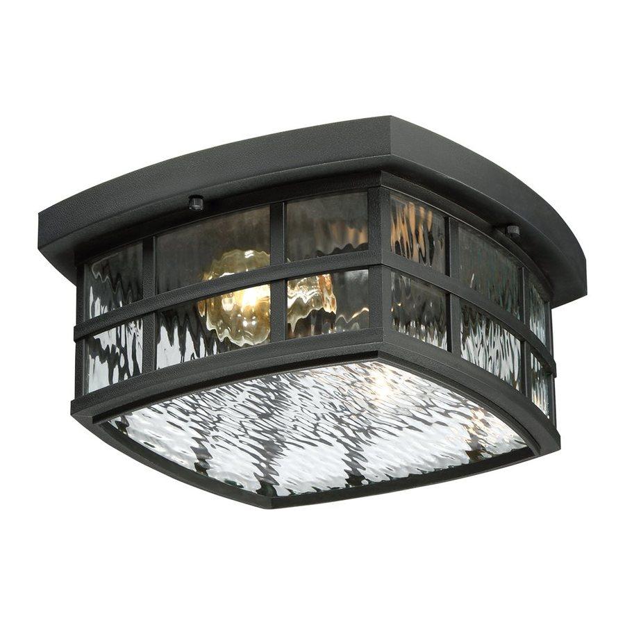 Quoizel Stonington 12-in W Mystic Black Outdoor Flush-Mount Light