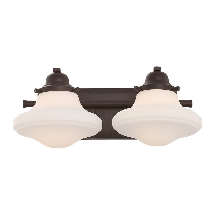 Quoizel Garrison 2-Light 6.75-in Western Bronze Schoolhouse Vanity Light