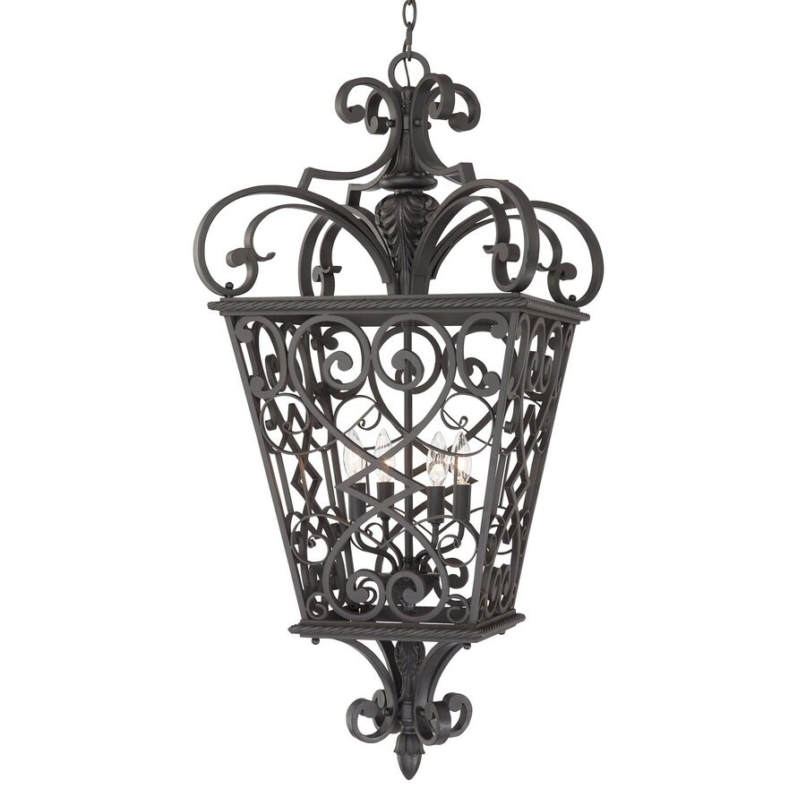 Quoizel Fort Quinn 41-in Marcado Black Outdoor Pendant Light
