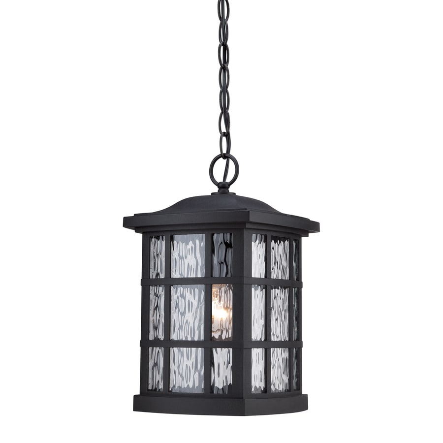 Quoizel Stonington 15-in Mystic Black Outdoor Pendant Light
