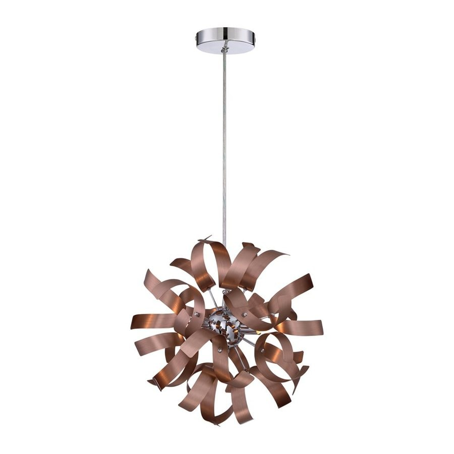 Quoizel Ribbons 12-in Satin Copper Single Orb Pendant