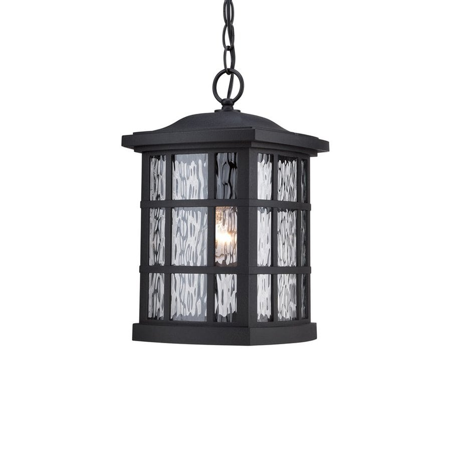 Quoizel Stonington 15-in Mystic Black Outdoor Pendant Light