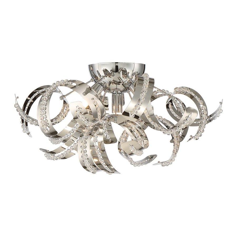 Quoizel Ribbons 16.5-in W Crystal chrome Metal Semi-Flush Mount Light