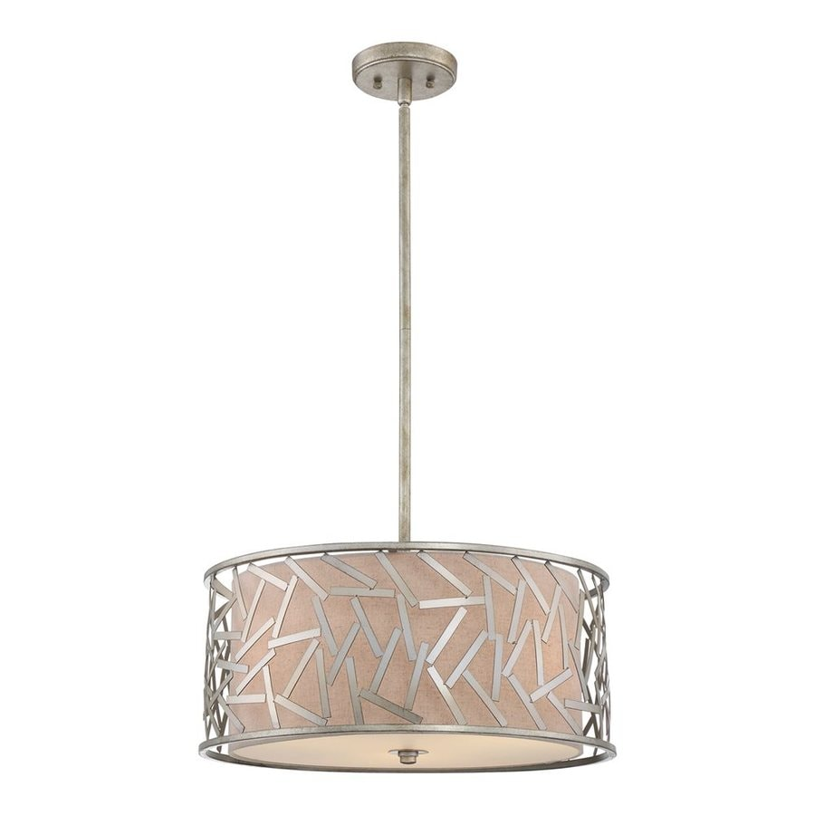 Quoizel Jarvis 20-in Old Silver Single Drum Pendant