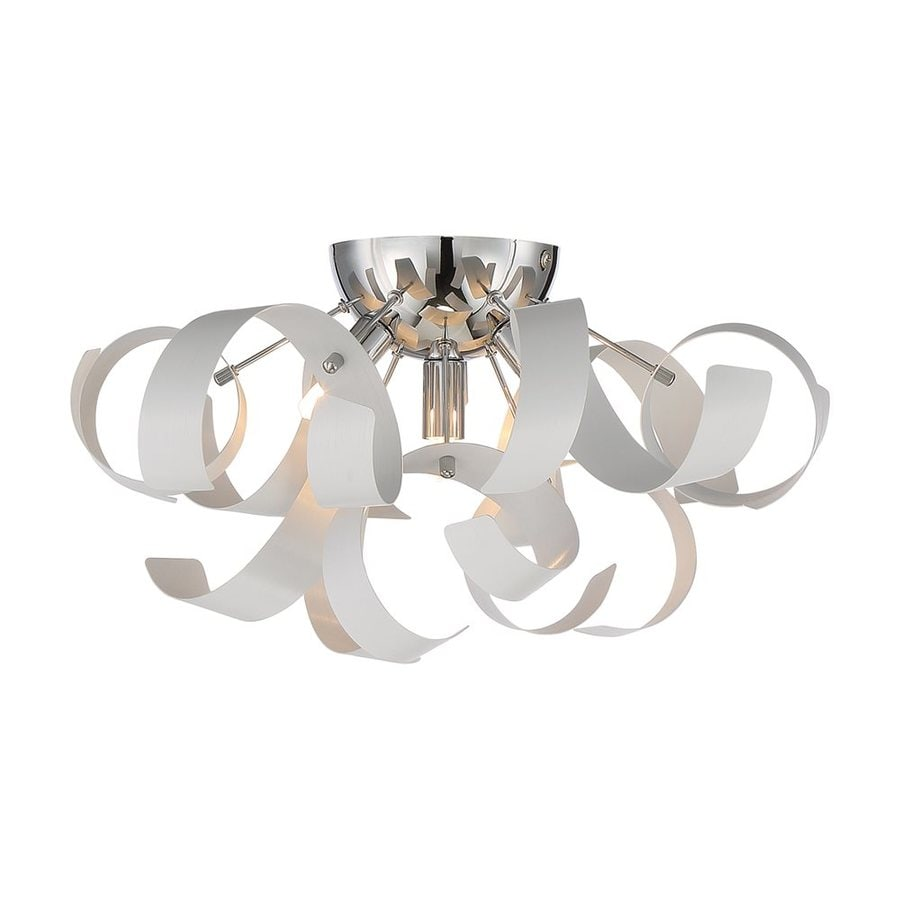 Quoizel Ribbons 16.5-in W White Lustre Metal Semi-Flush Mount Light