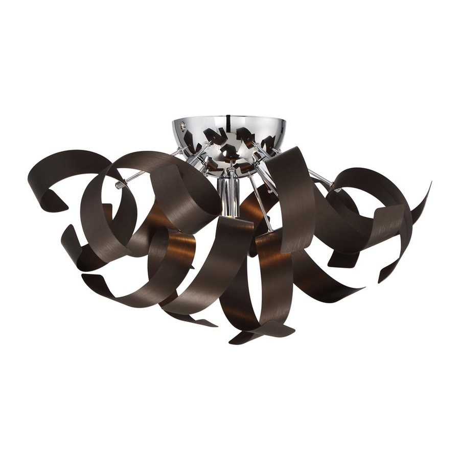 Quoizel Ribbons 16.5-in W Western Bronze Metal Semi-Flush Mount Light
