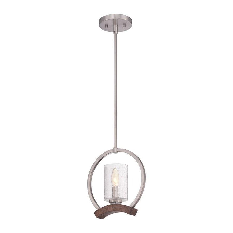Quoizel Kayden 10-in Brushed Nickel Mini Seeded Glass Lantern Pendant