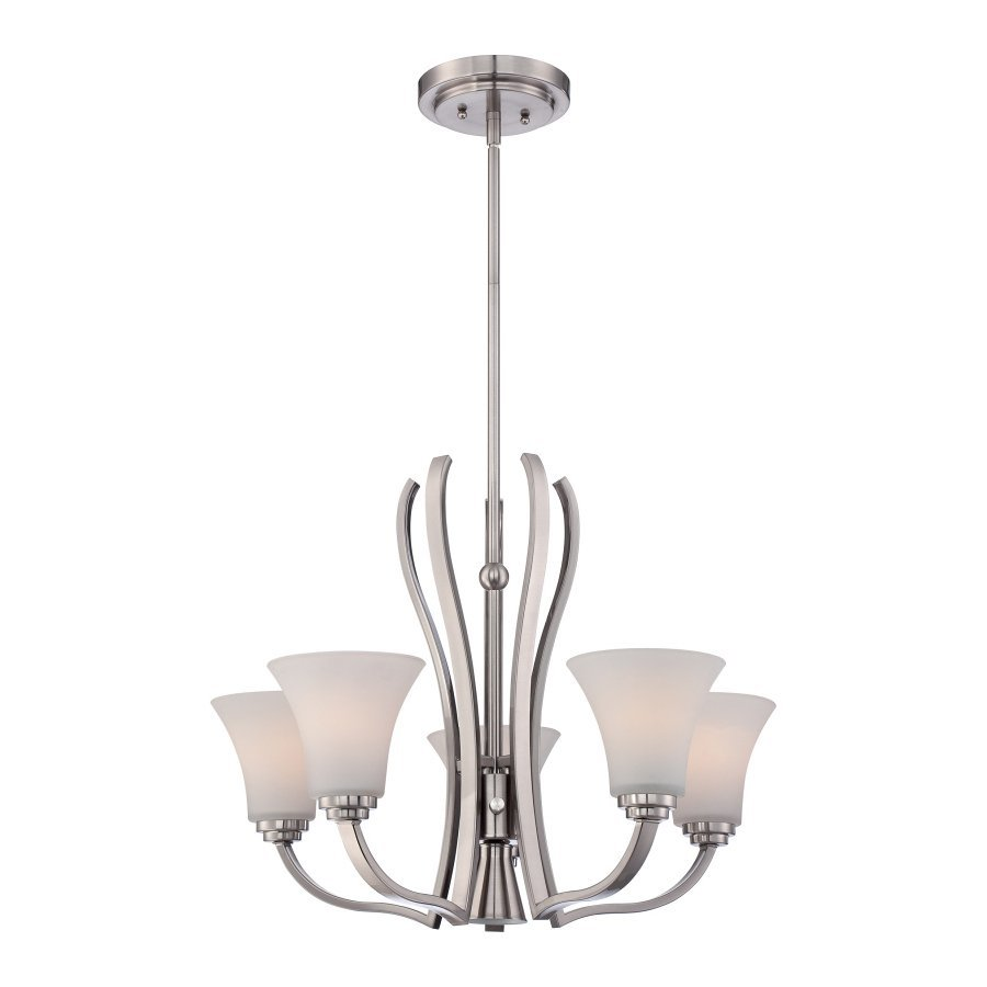 Quoizel Kemper 25-in 5-Light Brushed Nickel Etched Glass Shaded Chandelier