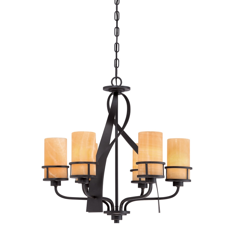 Quoizel Kyle 23-in 6-Light Imperial Bronze Shaded Chandelier