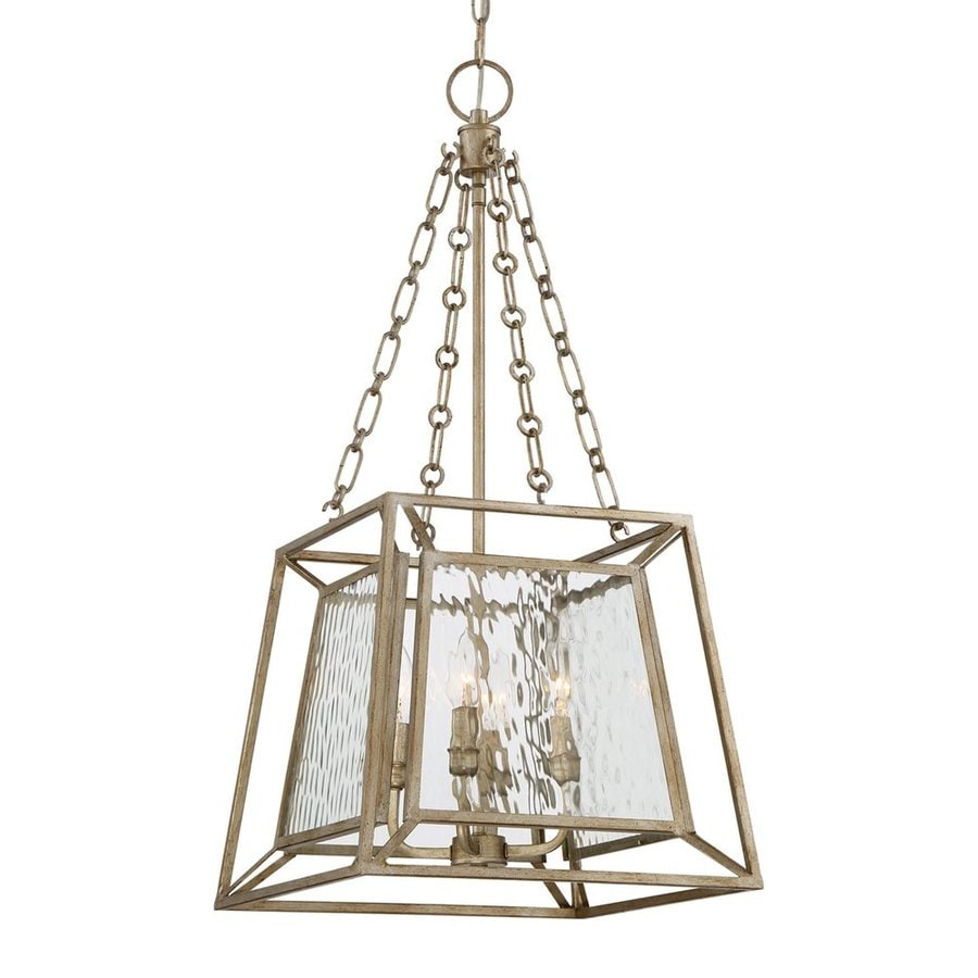 Quoizel Lakeside 15-in 4-Light Vintage gold Textured Glass Cage Chandelier