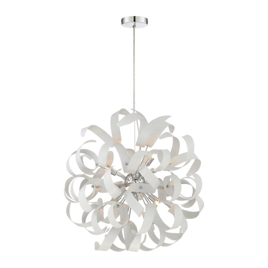 Quoizel Ribbons 23-in White Lustre Single Orb Pendant
