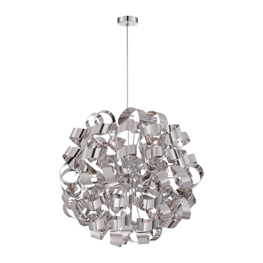 Quoizel Ribbons 31-in Polished Chrome Single Orb Pendant