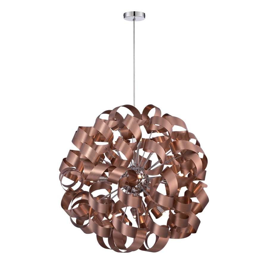 Quoizel Ribbons 31-in Satin Copper Single Orb Pendant