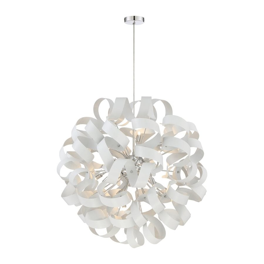 Quoizel Ribbons 31-in White Lustre Single Orb Pendant
