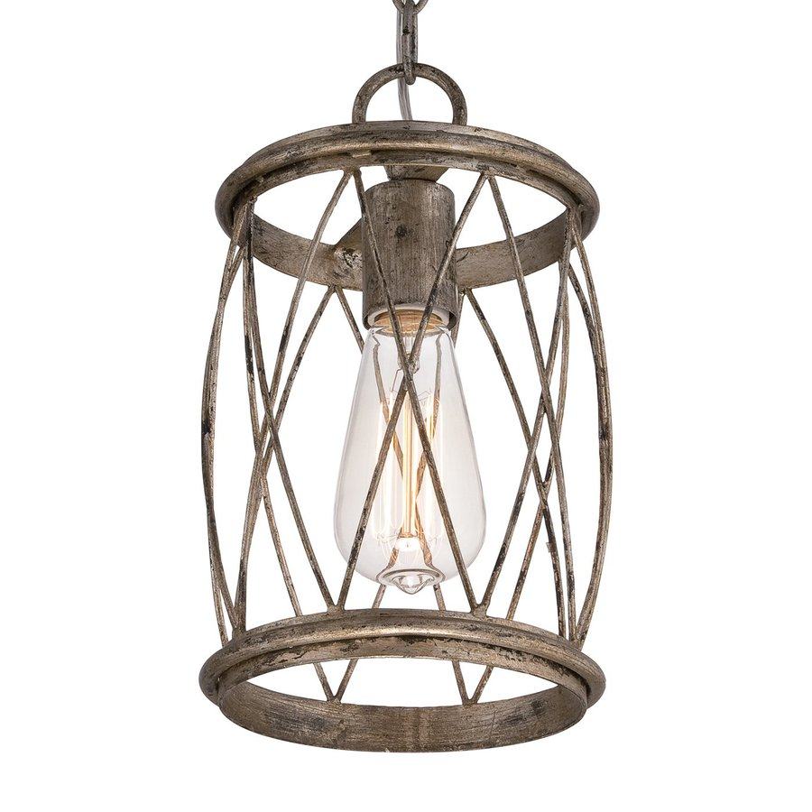 Quoizel Dury 7-in Century Silver Leaf Industrial Mini Cage Pendant