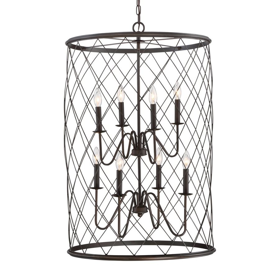 Quoizel Dury 24.5-in 8-Light Palladian Bronze Cage Chandelier
