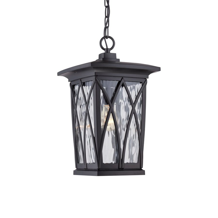 Quoizel Grover 17.5-in Mystic Black Outdoor Pendant Light