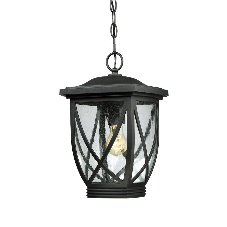 Quoizel Tudor 14.5-in Mystic Black Outdoor Pendant Light