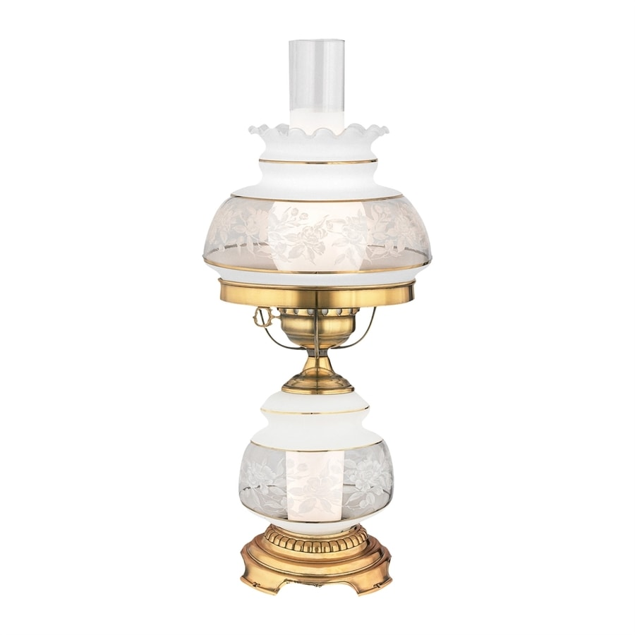 Quoizel Satin Lace 20-in French gold Plug-In Rotary Socket Table Lamp with Glass Shade