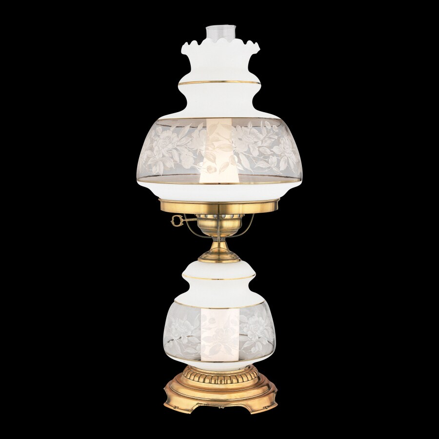 Quoizel Satin Lace 24-in French gold Plug-In Rotary Socket Table Lamp with Glass Shade