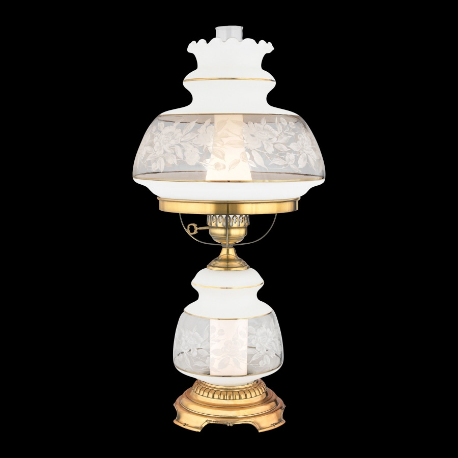 Quoizel Satin Lace 28-in 3-Way Gold Indoor Table Lamp with Glass Shade