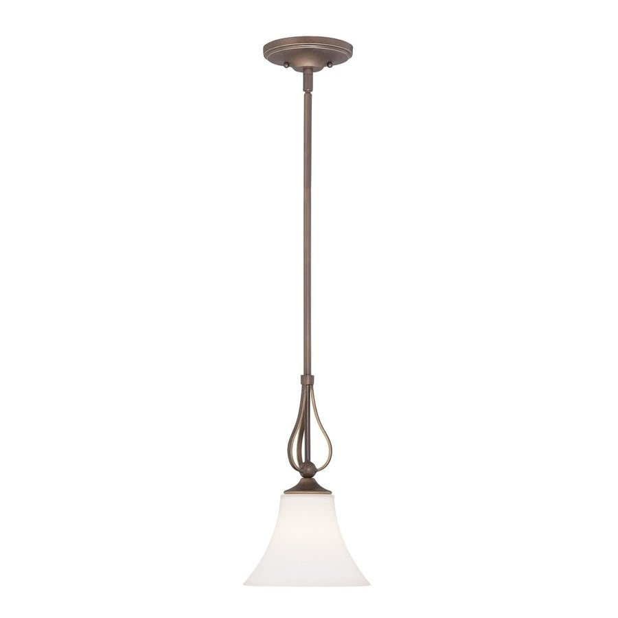 Quoizel Sophia 8-in Palladian Bronze Mini Etched Glass Bell Pendant