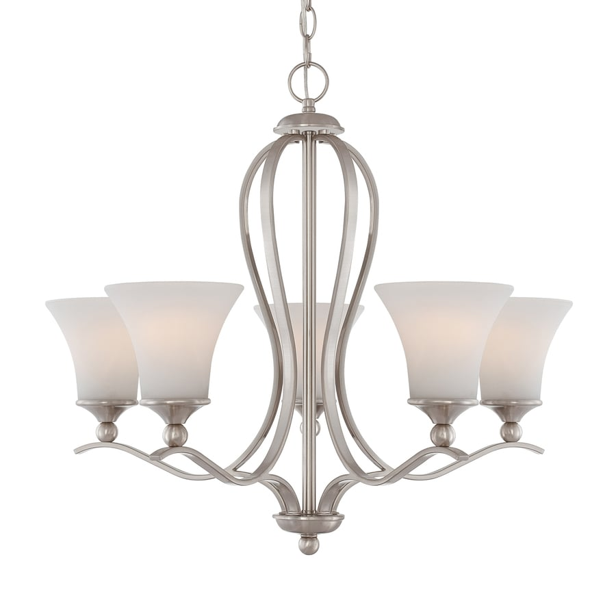 Quoizel Sophia 26.5-in 5-Light Brushed Nickel Etched Glass Shaded Chandelier
