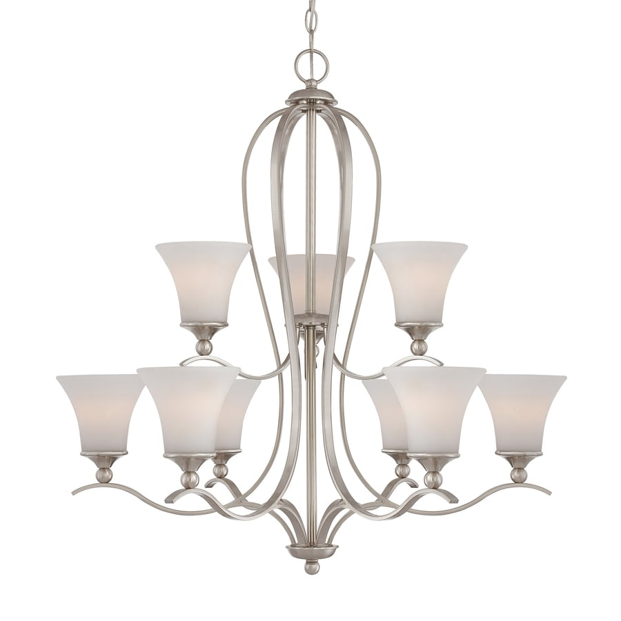 Quoizel Sophia 32-in 9-Light Brushed Nickel Etched Glass Shaded Chandelier