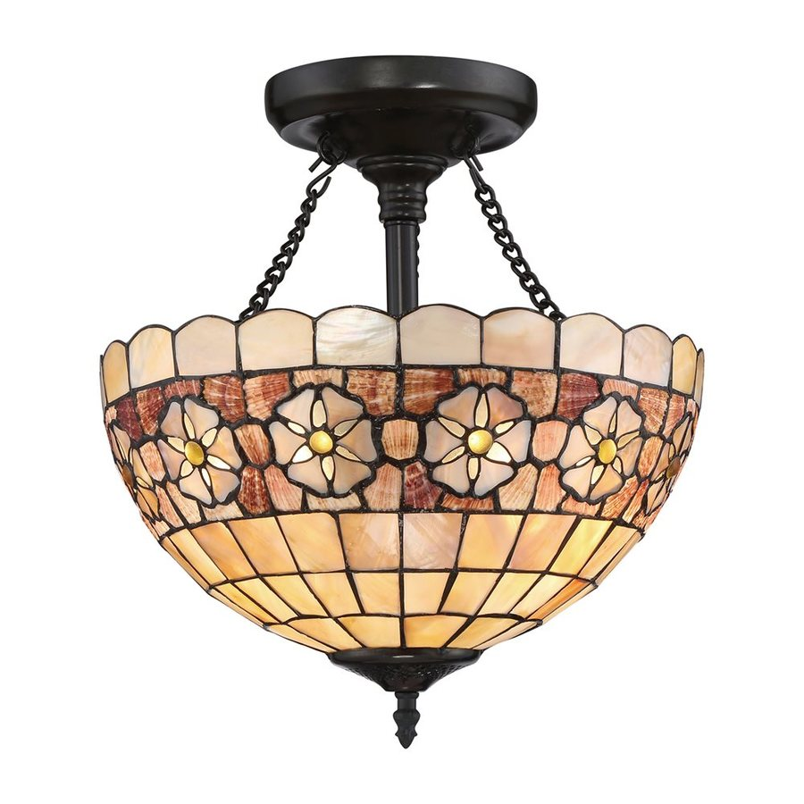 Quoizel Sea Shell Sanibel 14 In W Vintage Bronze Stained Tiffany Style Semi Flush Mount Light At