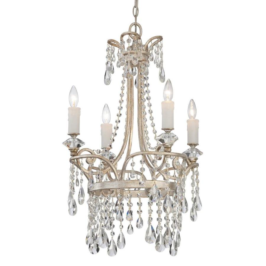 Shop Quoizel Tricia 21 In 4 Light Vintage Silver Crystal