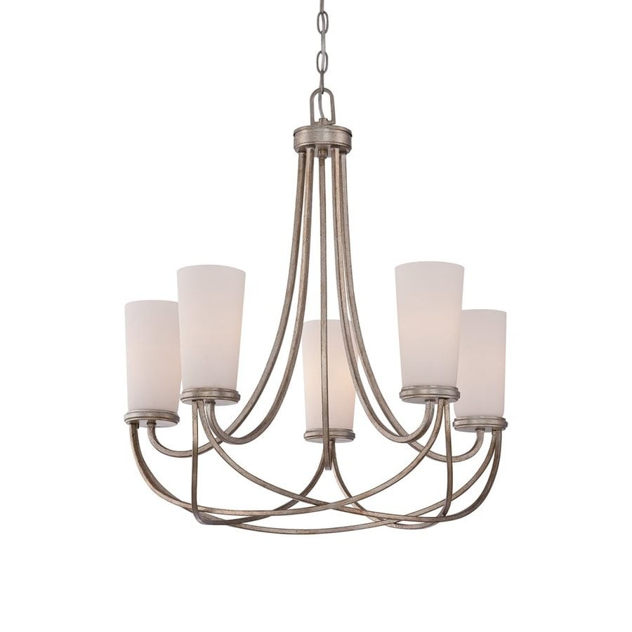 Quoizel Milbank 24.5-in 5-Light Vintage Gold Etched Glass Shaded Chandelier