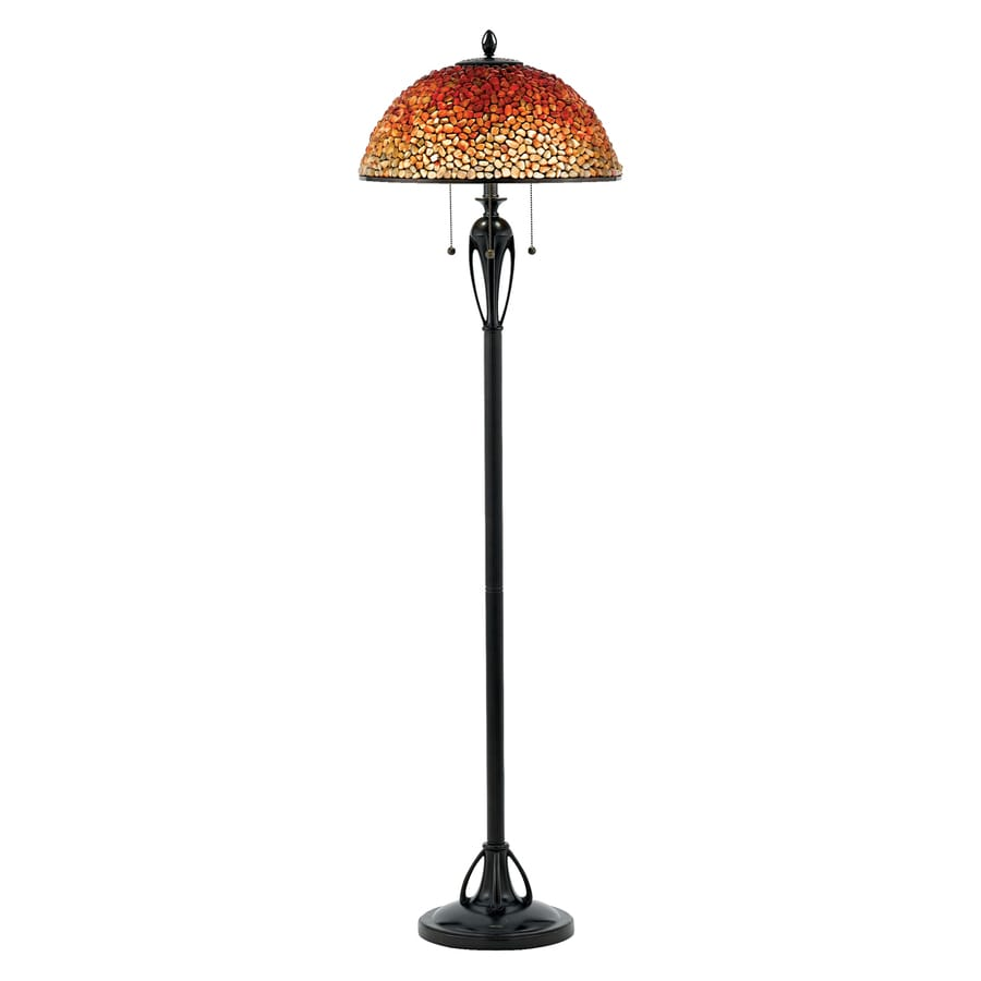 Quoizel Pomez 61-in Burnt Cinnamon Pull-Chain Floor Lamp with Stone Shade
