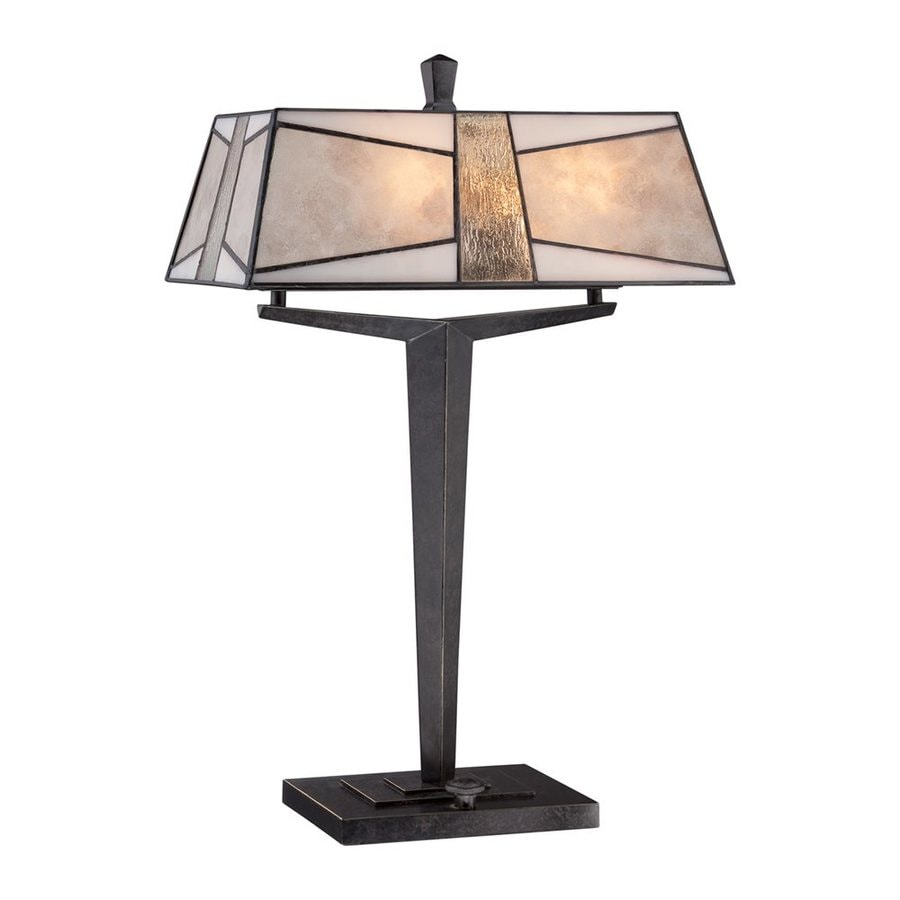Quoizel Alistar 23-in Imperial bronze  Electrical Outlet Table Lamp with Mica Shade