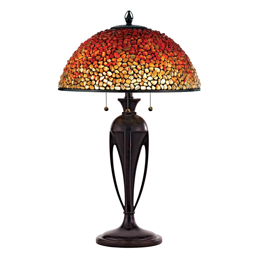 Quoizel Pomez 28.5-in Burnt Cinnamon Table Lamp with Stone Shade