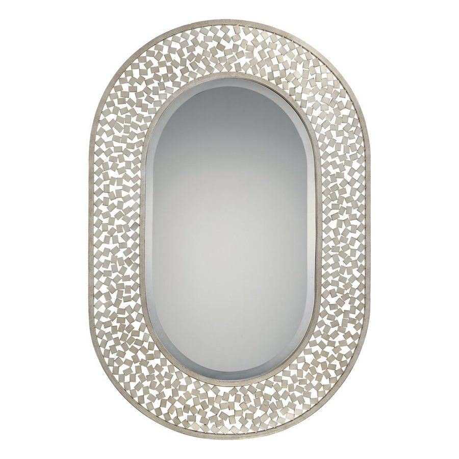 Quoizel Confetti 24-in x 35-in Old Silver Beveled Oval Framed Contemporary Wall Mirror