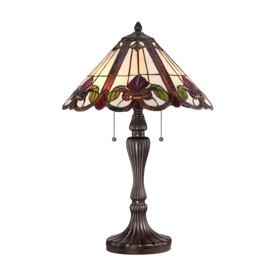 Quoizel Fields 24-in Western Bronze Indoor Table Lamp with Tiffany-Style Shade