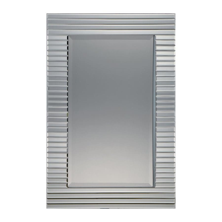 Quoizel Ultra 24-in x 36-in Silver Patina Beveled Rectangle Framed Contemporary Wall Mirror