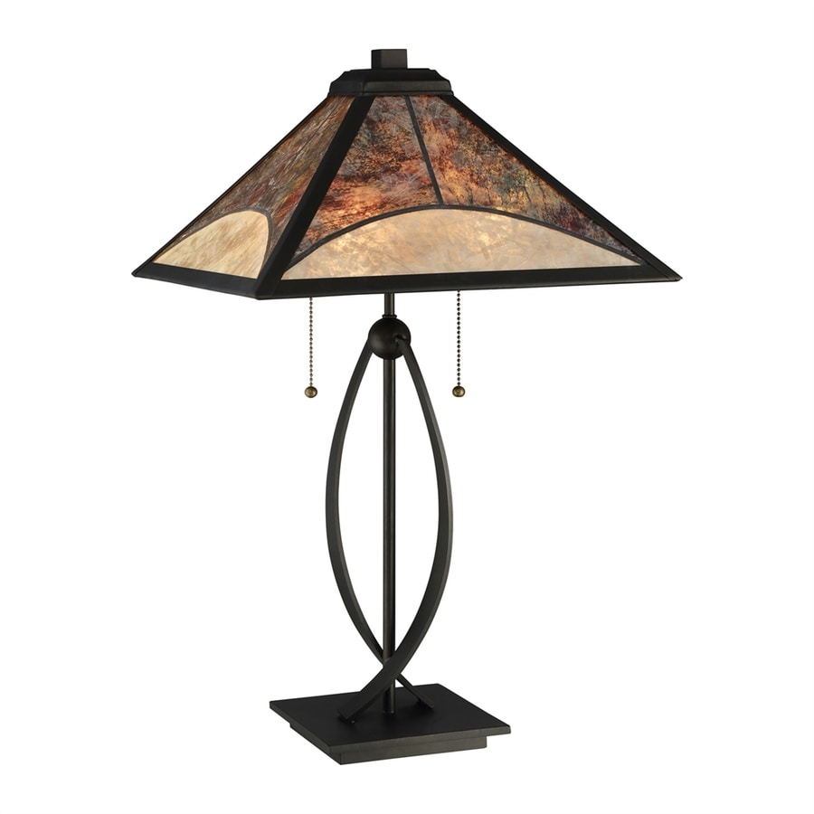 Quoizel Theory 24.75-in Dark Bronze Indoor Table Lamp with Mica Shade