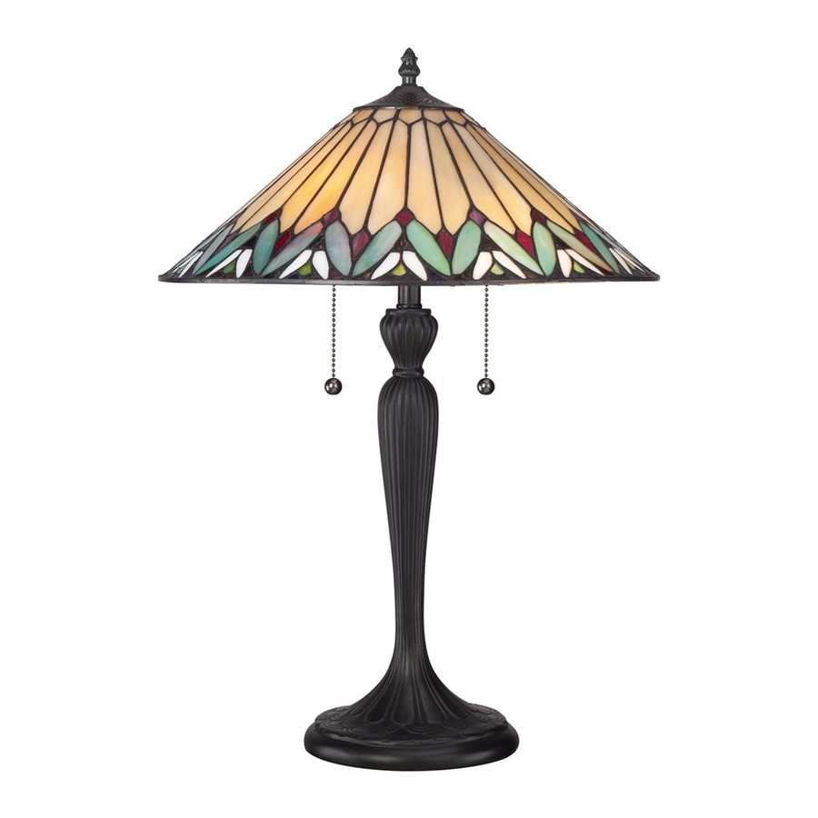Quoizel Pearson 23-in Bronze Patina Table Lamp with Glass Shade