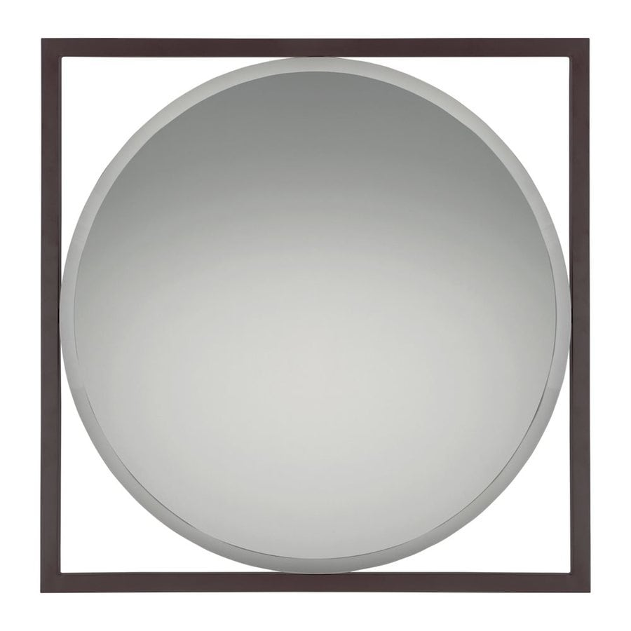 Quoizel Reflections 30-in x 30-in Western Bronze Beveled Square Framed Contemporary Wall Mirror