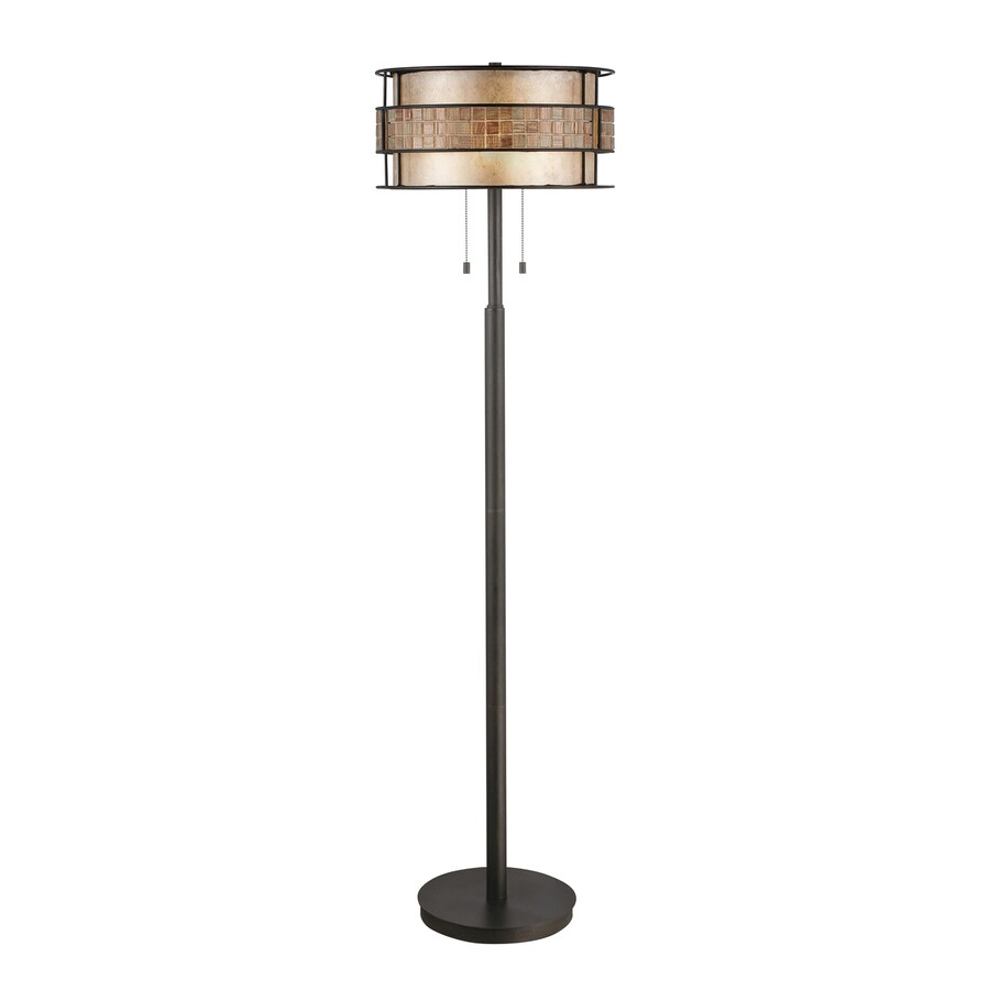 Quoizel Laguna 60-in Renaissance Copper Indoor Floor Lamp with Mica Shade