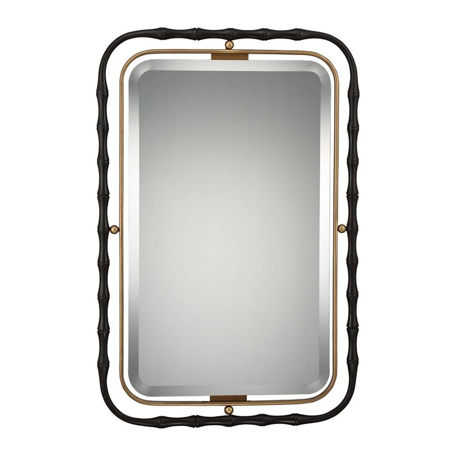 Quoizel Reflections 25-in x 37.5-in Western Bronze Beveled Rectangle Framed Traditional Wall Mirror