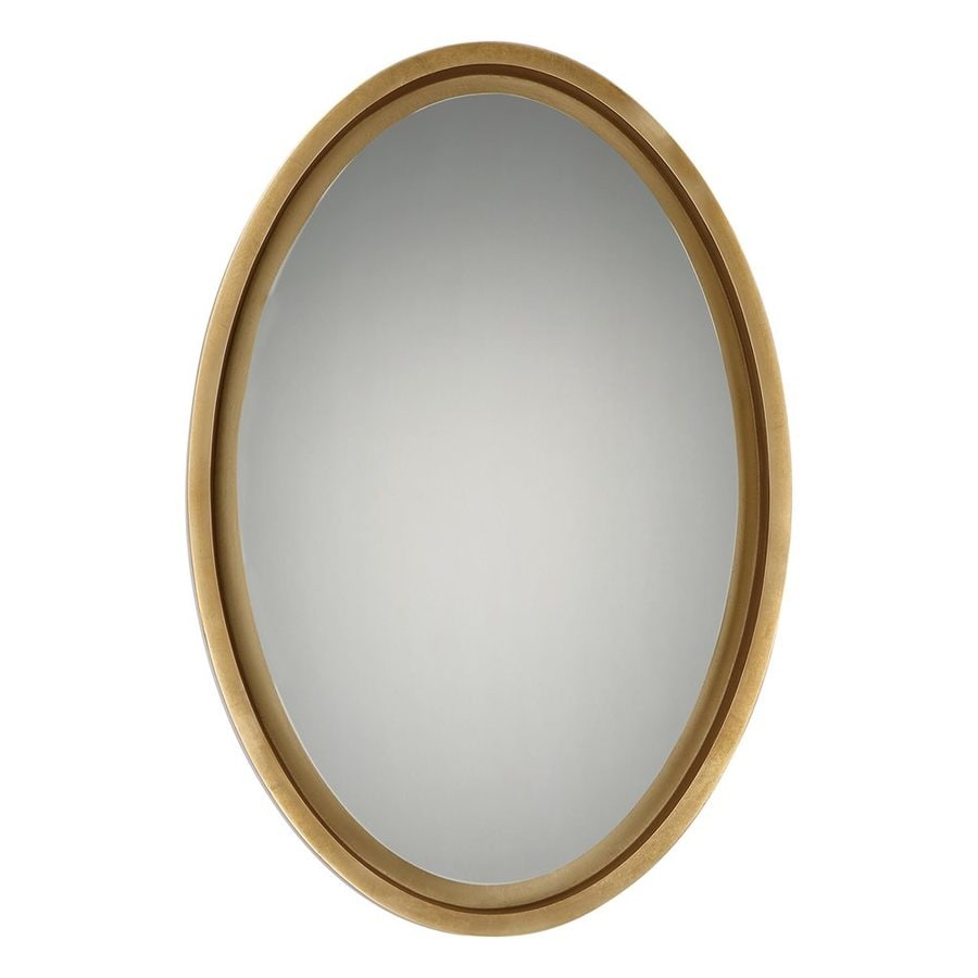 Quoizel Reflections 20.5-in x 30.5-in Gold Leaf Beveled Oval Framed Transitional Wall Mirror