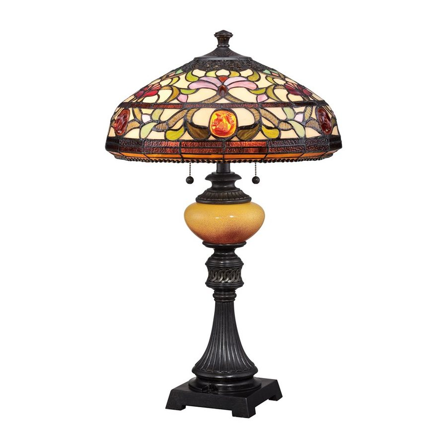 Quoizel Jewel 27.5-in Imperial Bronze Indoor Table Lamp with Tiffany-Style Shade