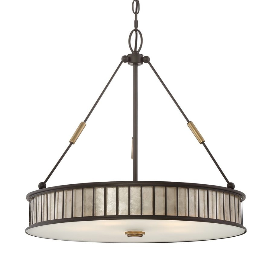 Quoizel Belfair 22-in Western Bronze Craftsman Single Drum Pendant