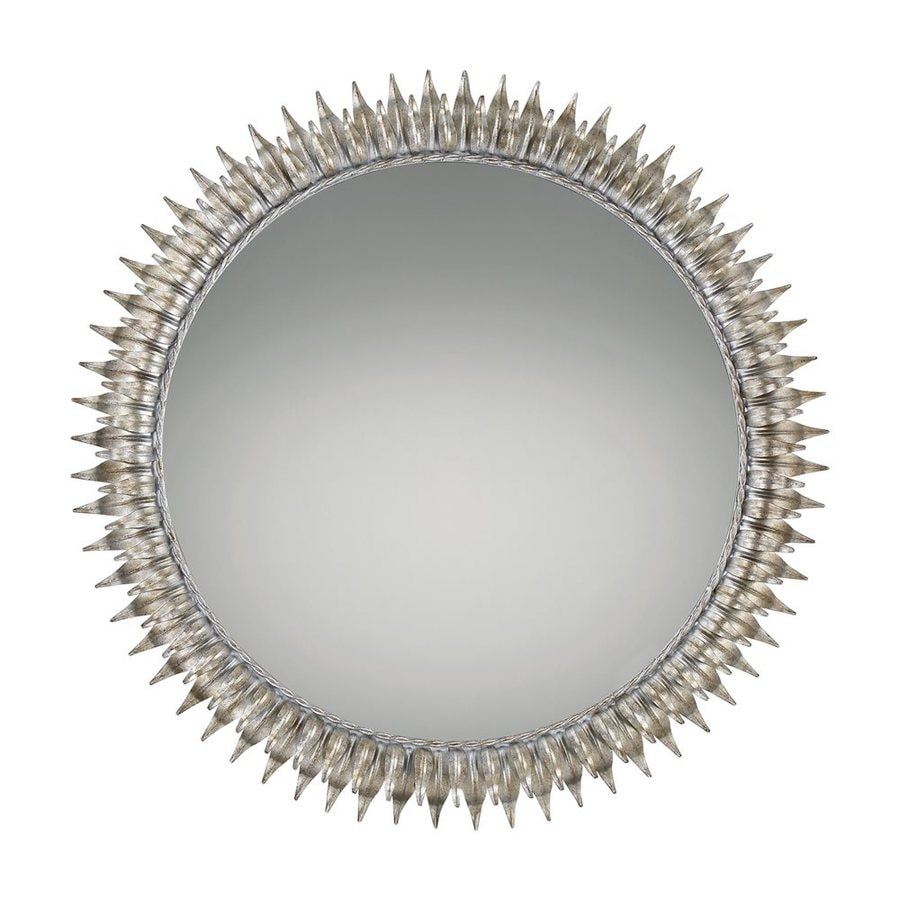Quoizel Reflections 36-in x 36-in Ivory with Gold Highlights Beveled Round Framed Sunburst Wall Mirror